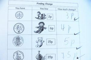 イギリスの小学校ー算数でお金の数え方を勉強