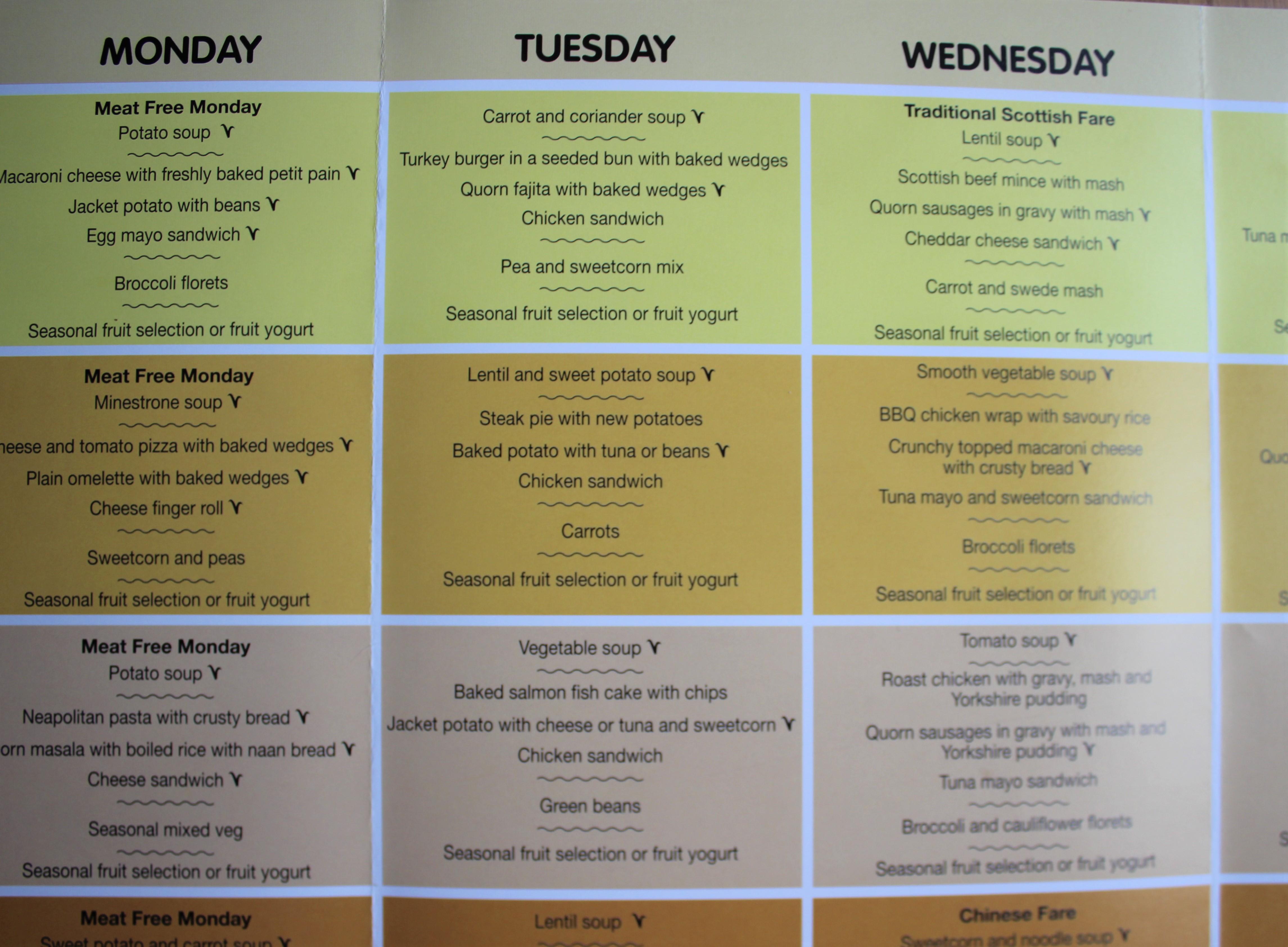 ベジタリアンメニューのある学校給食(イギリス)