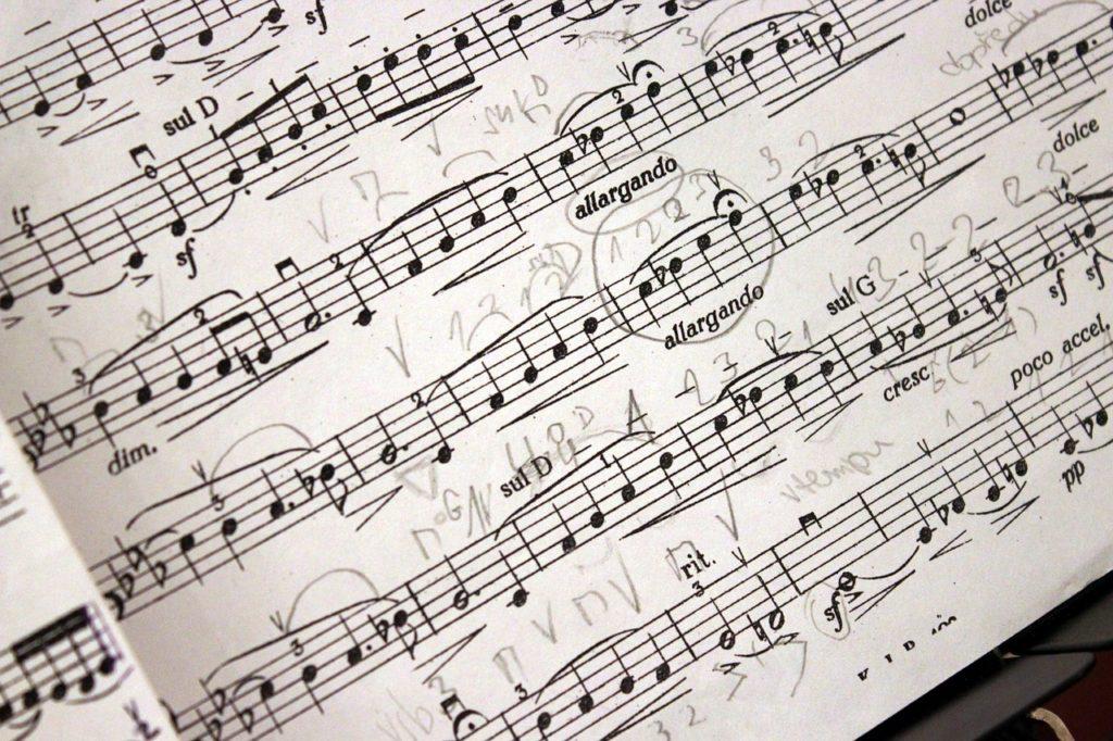 フィンガリングがたくさん書き込んである楽譜