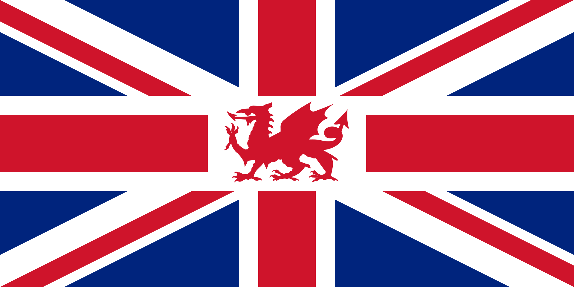 ウェールズの旗が入れられているユニオンジャック
