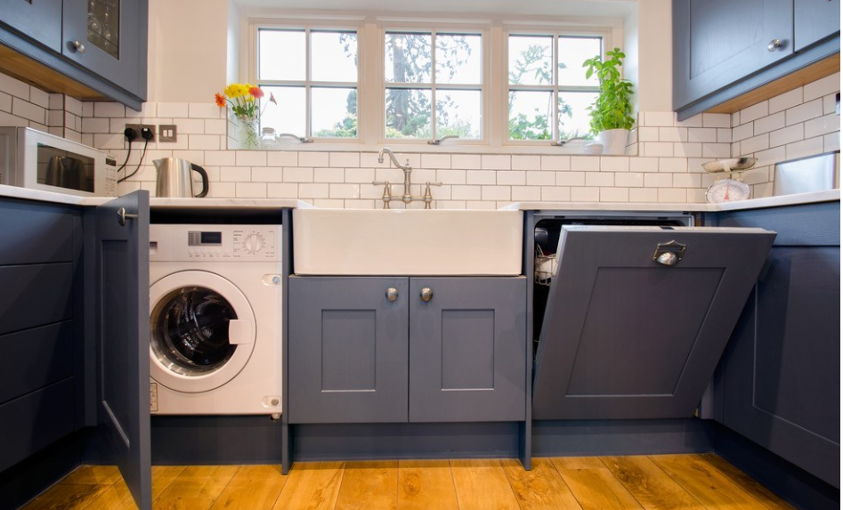 洗濯機がキッチンにあるイギリス