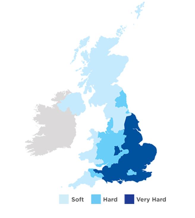 イギリスの水の硬度